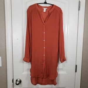 H&M Long Sleeve Button-up Rust Tunic, 6